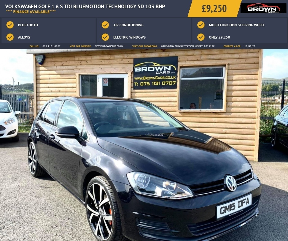 2015 Volkswagen Golf 1.6 S TDI BLUEMOTION TECHNOLOGY Diesel Manual **** Finance Available**** – Brown Cars Newry full
