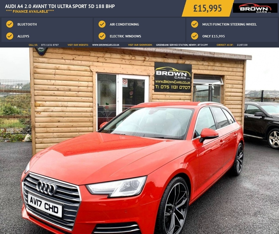 2017 Audi A4 2.0 AVANT TDI ULTRA SPORT Diesel Manual **** Finance Available**** – Brown Cars Newry full