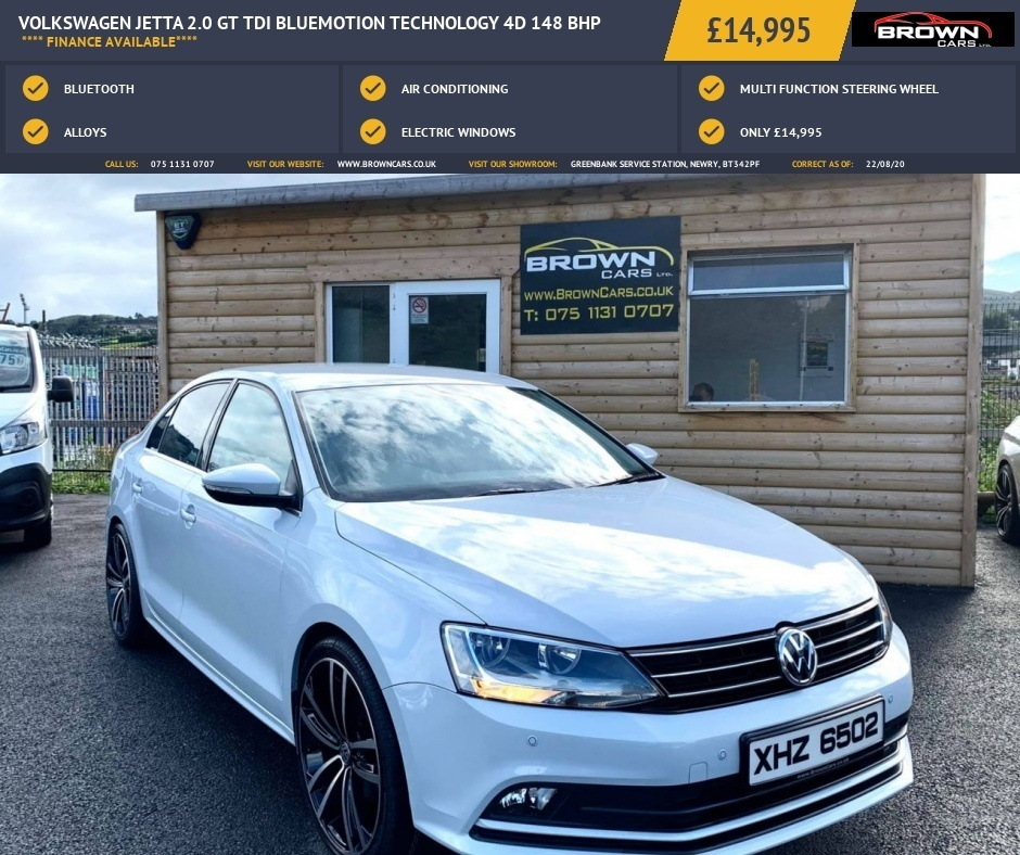 2018 Volkswagen Jetta 2.0 GT TDI BLUEMOTION TECHNOLOGY Diesel Manual **** Finance Available**** – Brown Cars Newry full
